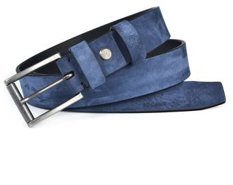 Full Grain Italian Leather Belt in Navy Nubuk