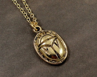 Scarab Necklace, Gold Egyptian Scarab Charm on a Gold Cable Chain