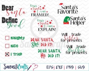 Dear Santa Bundle - Digital download - svg - eps - png - dxf - Cricut - Cameo - cutting machine files