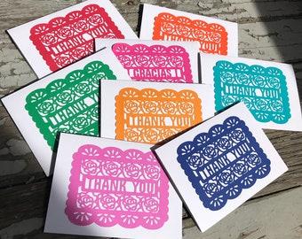 Thank you, Gracias cards, paper cut cards, Bilingual, papel picado, cards