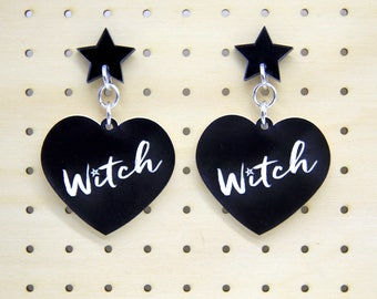 Witch Statement Laser Cut Acrylic Dangle Earrings