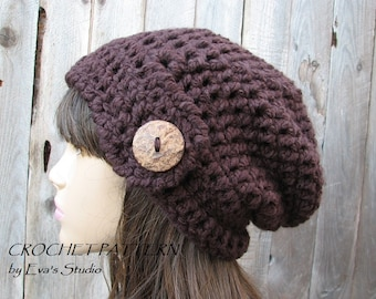 Crochet Hat - Slouchy  Hat, Crochet Pattern PDF,Easy, Pattern No. 74