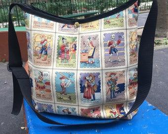 Dia de los muertos Cotton Print Cross Body Market Bag, Mexican Day of the Dead Loteria Skeleton Shoulder Bag, Hobo Bag