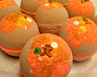 SALE Gingerbread - Bubblin' Bath Bomb Fizzy, handmade with Avocado Oil, Soothing Suds Bath & Body