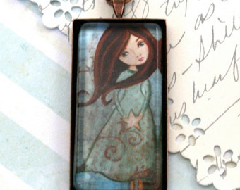 Necklace Pendant Art Jewelry Rectangular Pendant Long Necklace Handmade Wearable Art Jewelry