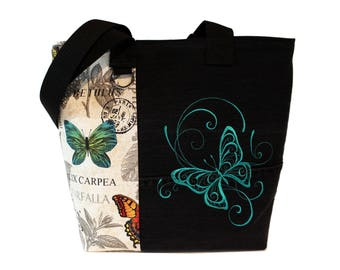 Tote bag -Botanical Butterfly- A recycled denim, embroidered, lined totebag.  Eco-Friendly handbags.