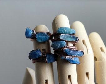 Kyanite Ring - Blue Crystal Ring - Electroformed Crystal Ring - Raw Blue Stone - Raw Blue Kyanite