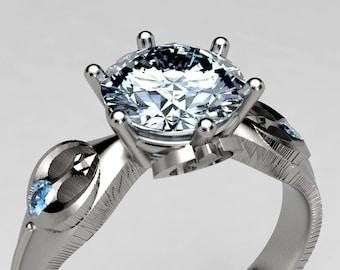 Rebel Alliance Star Wars Engagement Ring in Palladium White Gold, 1 Carat Moissanite Nerdy Engagement Ring, Star Wars Wedding, Geek Ring