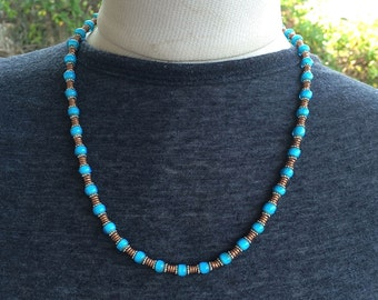 Necklace African Trade Beads Turquoise White Hearts and Copper by Kate Drew-Wilkinson