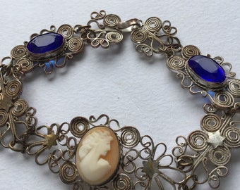 Antique Edwardian Silver Filigree and Blue Glass Stone