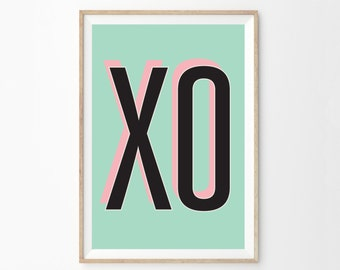 Rose & écume de mer rétro moderne mur typographique impression d'Art | Midcentury Modern Home | XO filles chambre affiche Art | Décor de chambre d'enfant