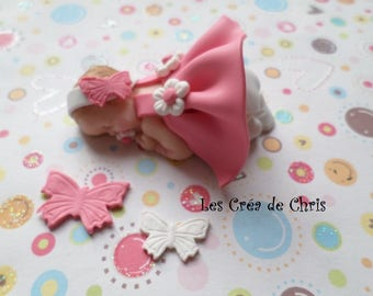 """baby girl """"nature"""" theme polymer clay."""