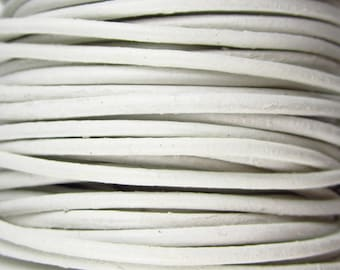 2 Yards - 2mm White Leather Cord