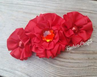 Red Flower Headband, Beautiful Flower Headband, Baby Headband, Girls Red Headband