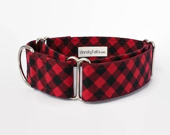 Buffalo Plaid  Adjustable Dog Collar - Martingale Collar or Side Release Buckle Collar  - Red & Black plaid