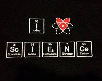 I ( heart ) ScIENCe Scarf Chemistry Science Geek - Made to Order