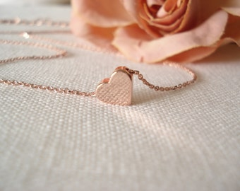 Tiny simple heart necklace, Rose gold handmade bridal jewelry, bridesmaid gift, flower girl, wedding, everyday minimalist  pendant