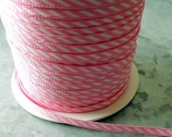 Diagonal stripe ribbon Pink and White Diagonal Stripes 1/8 inch wide 3 yards craft supply gift wrap