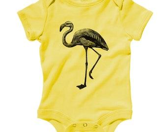 Baby Flamingo Romper - Infant One Piece - NB 6m 12m 18m 24m - Flamingo Gift, Bird, Animal Baby, Vintage Baby, Tropical Baby, Ornithology