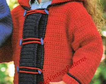 Children's Duffle Coat ... Vintage PDF Crochet Pattern ... Warm, Crochet, Winter Coat ... Boy or Girl ... Children's Coat with Hood