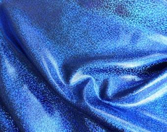 Sparkly Jewel Hologram Royal Blue on Black 145cm wide x 25cm