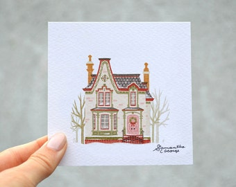 4x4 Print - Brick Snowy Christmas House