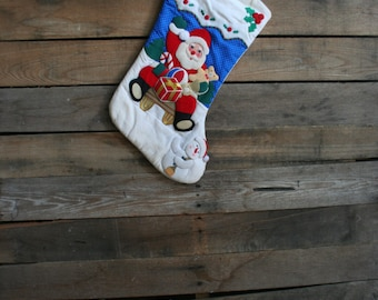 Vintage Green, White, & Red Santa Quilted Cotton Christmas Stocking