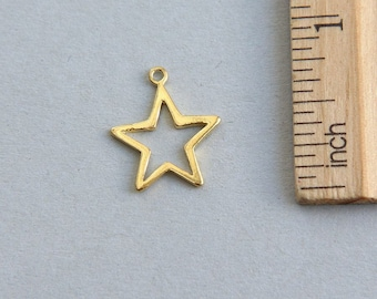 24K gold plated sterling silver charm, Star Charm, Open Star Charm, Gold plated Star Charm, Outline Star Charm, 15mm ( 1 piece )