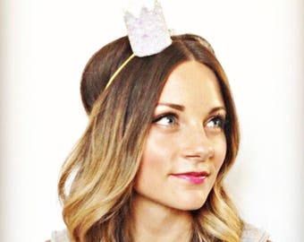 Glitter Crown-  Bride Mini Crown Bachelorette Party Headband    Bachelorette Sash