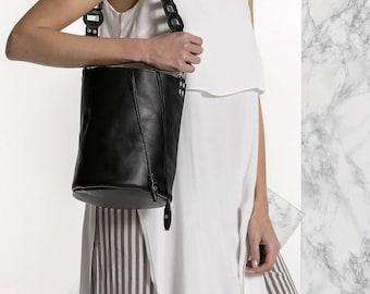 Leather Bucket Bag, Black Leather Handbag, Shoulder Tote Bag, Roxanne design, Available in 3 colors