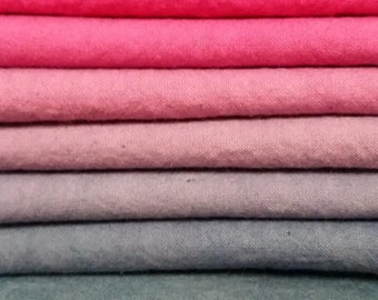 "Hand dyed cotton fat quarters for quilting, gradation of pink to purple-gray, ""Fuchsia Shock"""