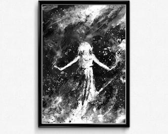 It's Raining Stars, Modern Home Decor, Wall Art, Girl In Rain, Star Art, Rain Art, Falling Star, Black And White Art, Contemporary Art, Girl