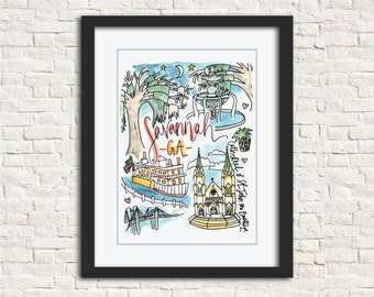 Savannah, GA Watercolor City Illustration Wall Art Print // 8x10