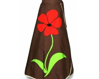 Vintage 1960s Skirt// Bohemian//flower// Brown//Long Skirt// Rockabilly//Retro//Designer Robert Brand// Wrap Skirt//60s Skirt