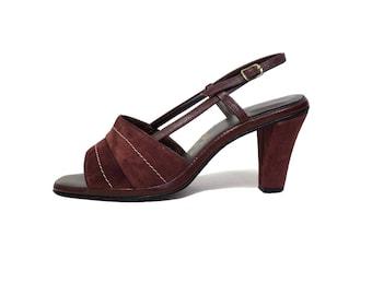 Vintage 70s Brown Suede Strappy Heels Size 7.5