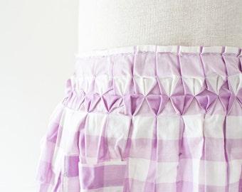 Vintage Plaid Apron - Smocked Purple Embroidered Checker Pattern Vintage Skirt Retro Apron