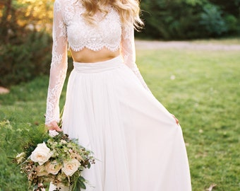 Wedding Separate - Willow Crop Top - Lace Crop Top - Long Sleeve Lace Wedding Dress - Crop Top Wedding Dress