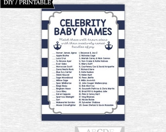 Instant Download Grey Navy Nautical Baby Shower Celebrity baby name Game DIY Printable ( SWN004)