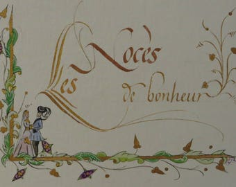 Unique handmade wedding card calligraphed and decorated with size 15/21