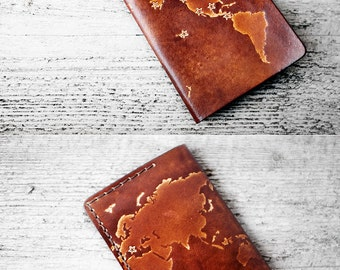 Personalized Passport Cover, Genuine Leather World Map Passport Holder, Personalized Travel Gift Passport Case, Custom Travel Wallet