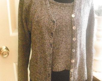 vintage 80s slouchy tank sweater set ... crop top short sleeveless top sweater jacket ... black white Size Medium Hipster indie grunge