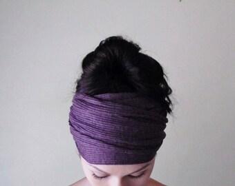 PURPLE Ear Warmer, Grape Head Wrap, Ribbed Knit Head Scarf, Extra Wide Knit Headband, Winter Hair Accessories, Purple Headbands for Women