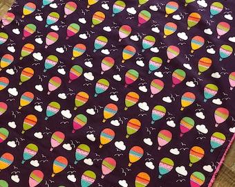 Baby Blanket  - Purple Balloons - Designer Baby Blanket  - Pink Chenille Backing