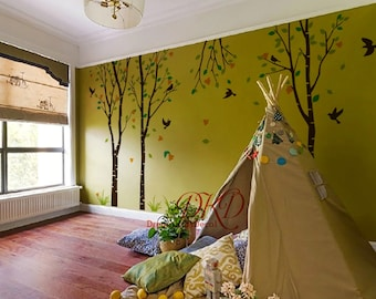 tree decal nursery wall decal baby wall decal children wall decal flying birds decal room decal-Flower tree set-DK057