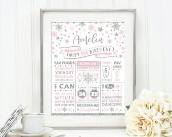 Snowflake Birthday Chalkboard Poster. Winter ONEderland Milestone Stats Printable. Silver and Pink Birthday Sign. Nursery Decor. WINT14