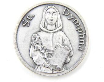 LARGE Saint Dymphna Catholic Medal - Religious Charms - Patron Saint of Mental Illness - Prayer Token - Pocket Medallion