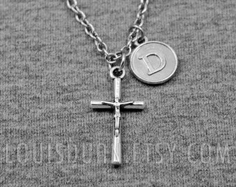 Cross Necklace -First Communion Cross Necklace -Initial Charm Necklace -Your Choice of A to Z