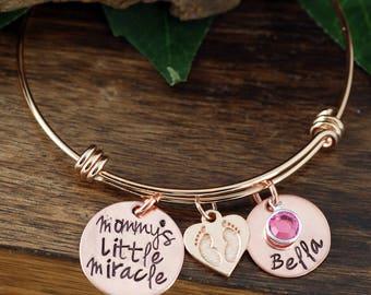 Personalized New Mom Bracelet, Mommy's Little Miracle Copper Bracelet, Custom Bangle Bracelet, Signature Jewelry, Engraved Bracelet