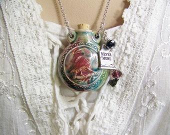 Raven Necklace, Blackbird Necklace, Nevermore Necklace, RIP Necklace, Ash Urn, Cremains Necklace, Bottle Necklace, Essence Necklace, Raven