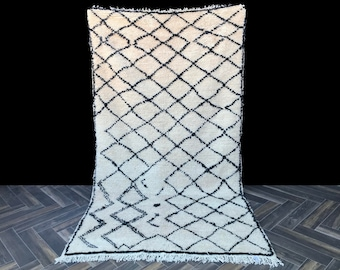 Gorgeous Beni Ourain rug 4x8, Moroccan Rug, Berber Rug, Pastel Rug, Minimalist Rug, Boho Rug, Kitchen Rug, Bathroom Rug, Neutral Rug, Boho